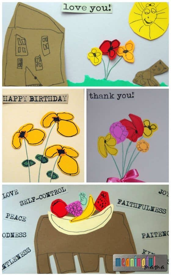 Cards Made from Children's Drawings