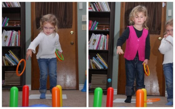 Kids doing perseverance activities with a ring toss