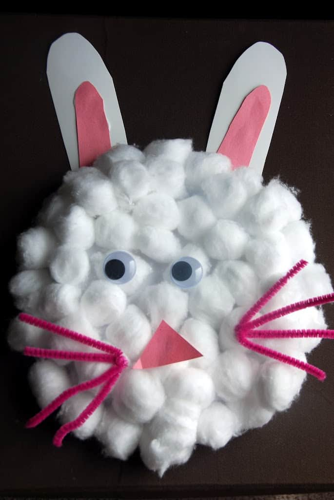 Cotton ball craft made from to look like a fluffy bunny.