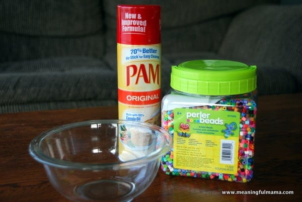 pam, beads and a glass bowl