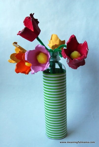 Day #221 Egg Carton Flower Bouquet - Meaningfulmama.