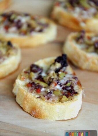 Cheesy Olive Tapenade Crostini