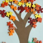 Fall Tree and Leaf Puzzle Piece Craft