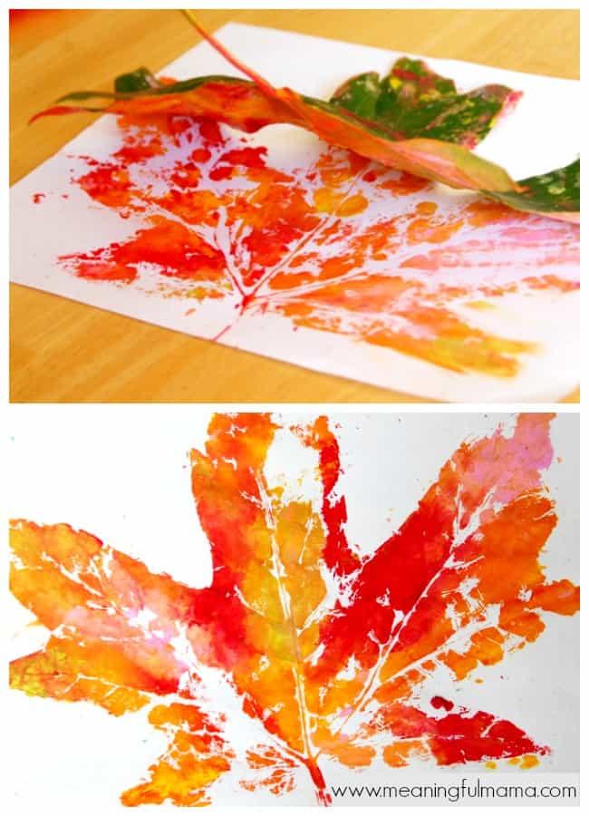 leaf prints fall leaf crafts kids