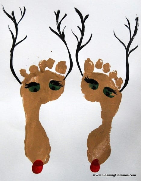 1 foot print reindeer christmas craft kids 016 - Prints For Kids