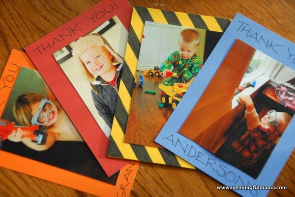 Homemade Thank You Cards Featuring Child Playing with Gift
