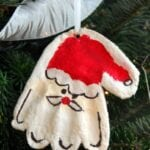 Salt Dough Santa Hand Print Christmas Ornament
