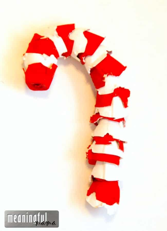 egg carton candy cane