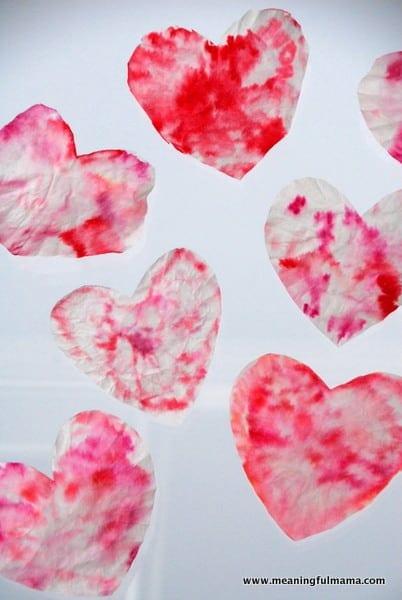 tie dye coffee filter heart art