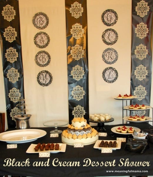 Black and Cream Damask Dessert Shower