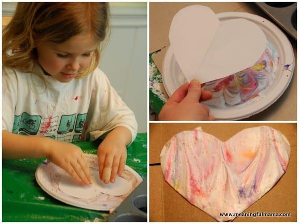 Marbled Valentine Heart with Shaving Cream