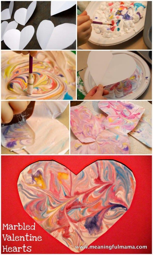 1-marbled valentine heart shaving cream craft