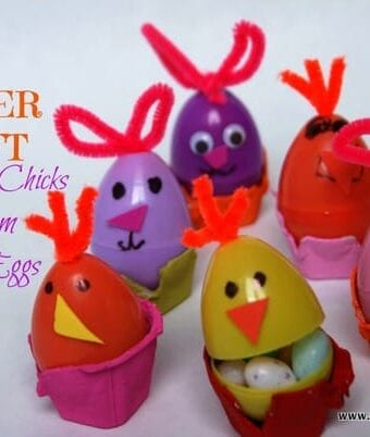An Easter Craft: Bunnies and Chicks Made from Plastic Eggs