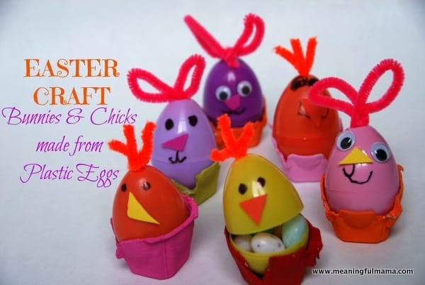 An Easter Craft Bunnies And Chicks Made From Plastic Eggs