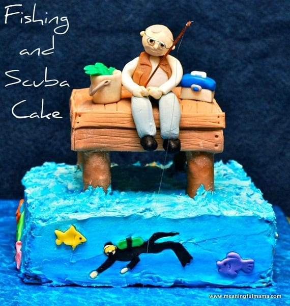Fishing and Scuba Man Cake