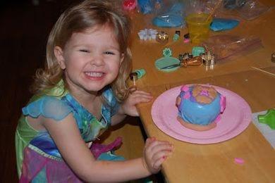 Abby making cake