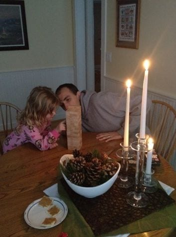 Daddy and abby playing Jenga