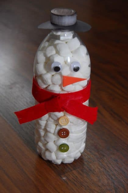 muñecos de nieve con material reciclable