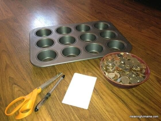 muffin tin learning game helps learn letters
