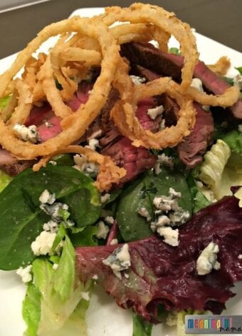 Mixed Green Gorgonzola Steak Salad with French Fried Onions and a Red Wine Vinaigrette