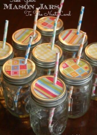 Decorative Mason Jar Lids with Cute Straws