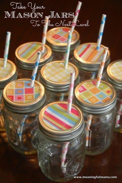 decorative mason jar lids with cute straws