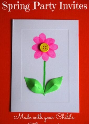 Spring Flower Birthday Invitations or Card with Fingerprint Flower