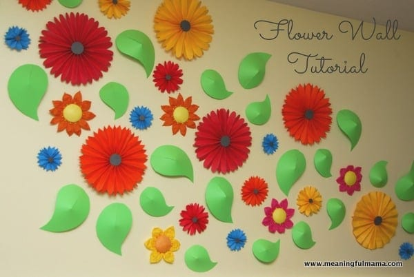 Flower Wall and Paper Pinwheel Tutorial - Meaningfulmama.