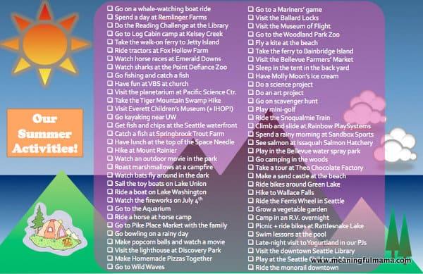 Summer Activities List for Seattle - 75 Ideas!!!