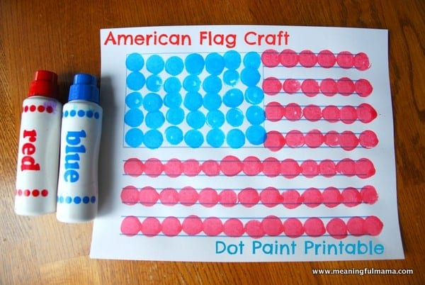 1-#american flag #craft #dot paint #printable-001