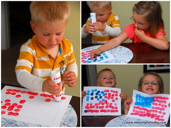 children doing American Flag Craft with Do-A-Dot Paints