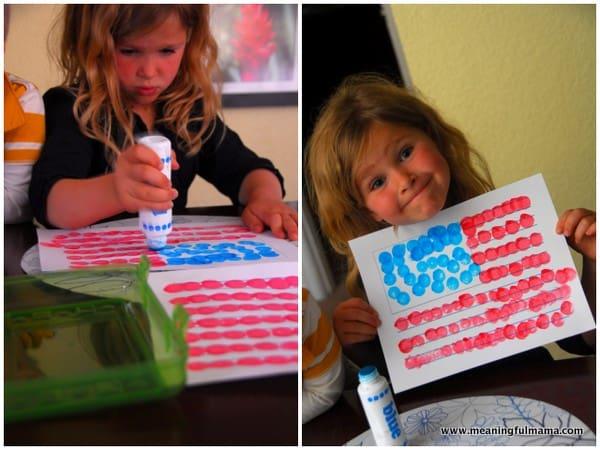 1-#american flag #dot paint #craft #printable-001