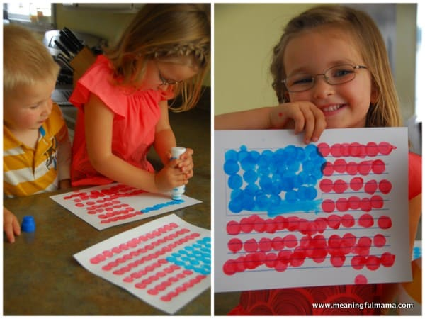american flag art being held by child