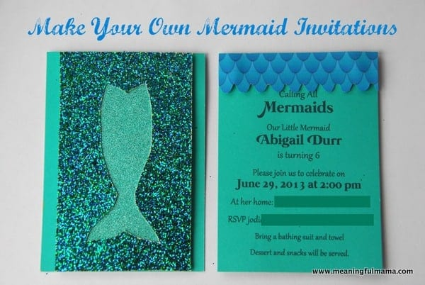 Mermaid Birthday Invitations DIY – Do It Yourself Party Invitations