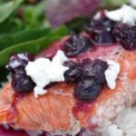 Salmon with Goat Cheese and Blueberry Sauce