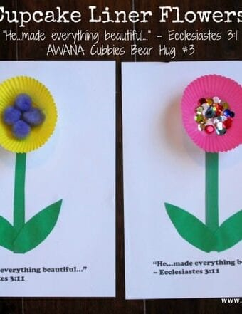 Cupcake Liner Flowers – Awana Cubbies Bear Hug #3 Craft