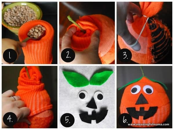 Sock Pumpkin Craft Tutorial - It's a no sew jack-o-lantern craft great for all ages. Meaningfulmama.com
