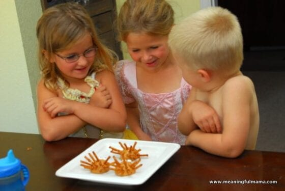 3 kids looking at Easy and Healthy Thanksgiving Snack for Kids