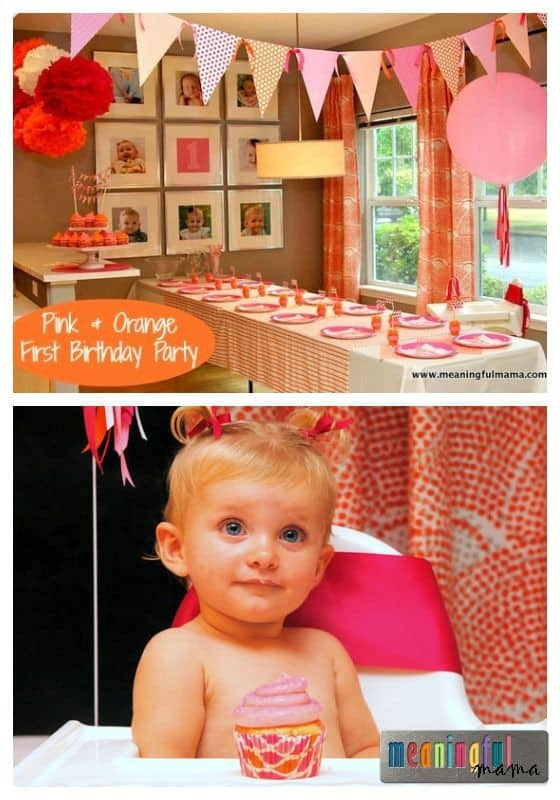 First Birthday Party Ideas - Pink and Orange Theme