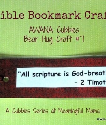 Bible Bookmark Craft – AWANA Cubbies Bear Hug #7