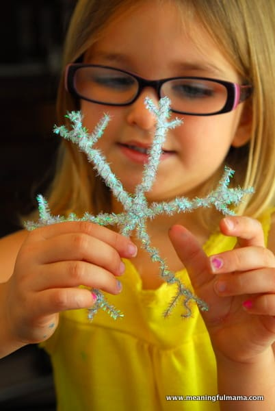 1-#snowflake craft #pipe cleaners #pom poms #kids-057