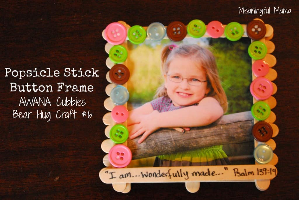 #popsicle stick frame #buttons #cubbies #bear hug 6-015