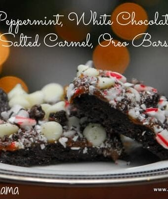 Peppermint, White Chocolate, Salted Carmel Oreo Bars