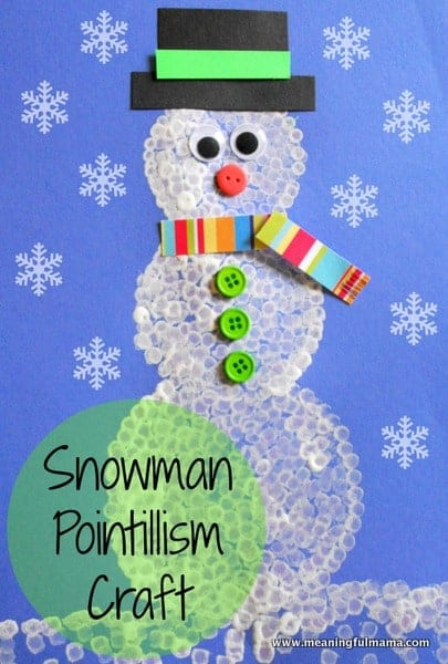 1-#pointillism snowman #snowman craft #classroom winter craft-015