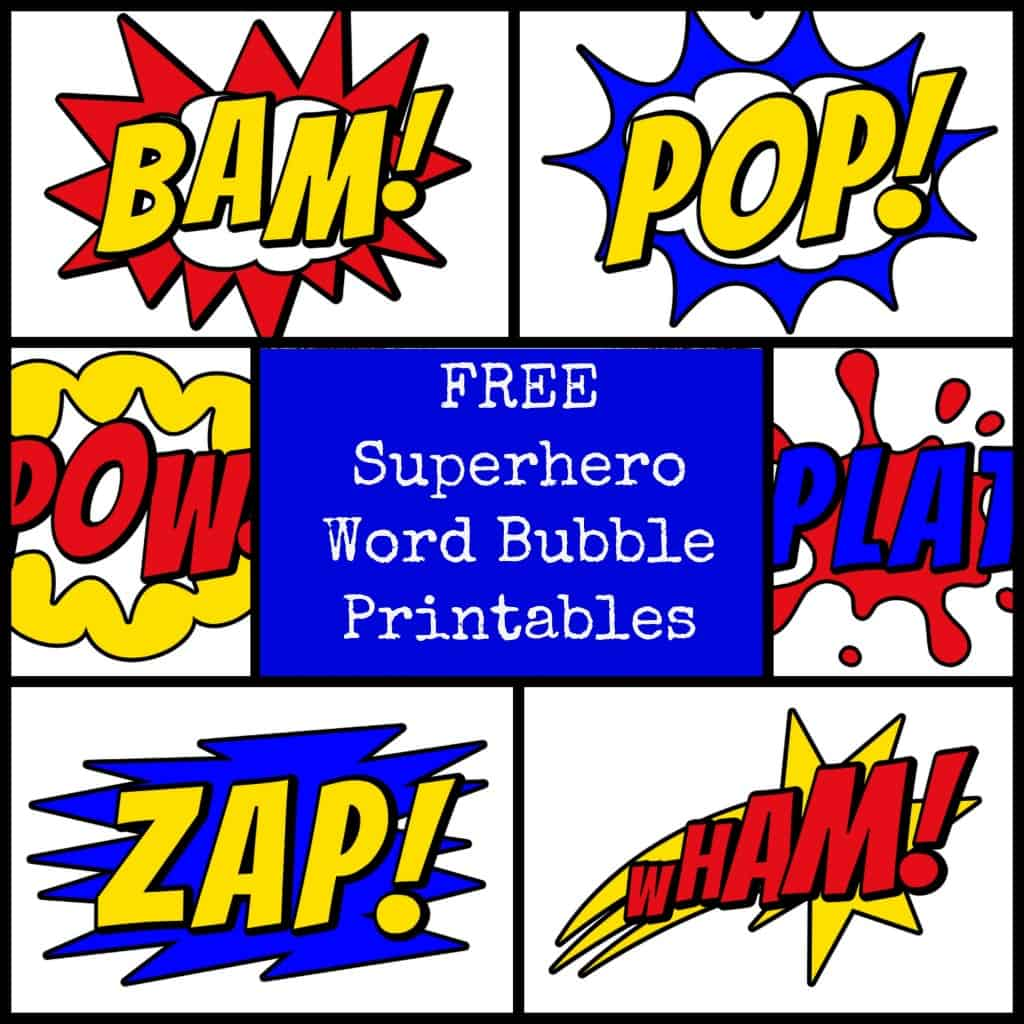 #superhero #printable word bubbles #free