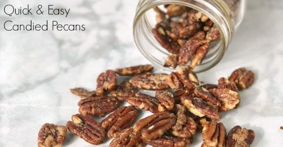pecans tumbling out of jar