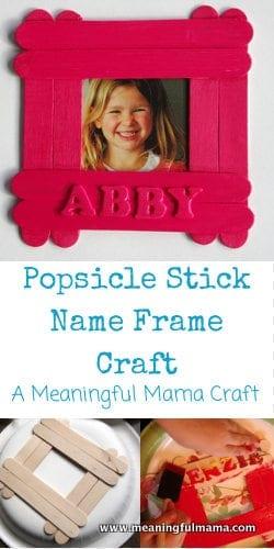 1-Popsicle StickName Frame Craft