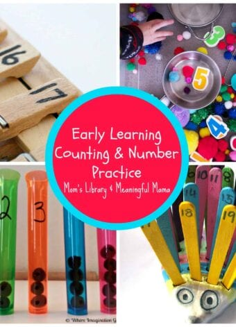 Early Learning Counting and Number Practice at Mom's Library Link Party