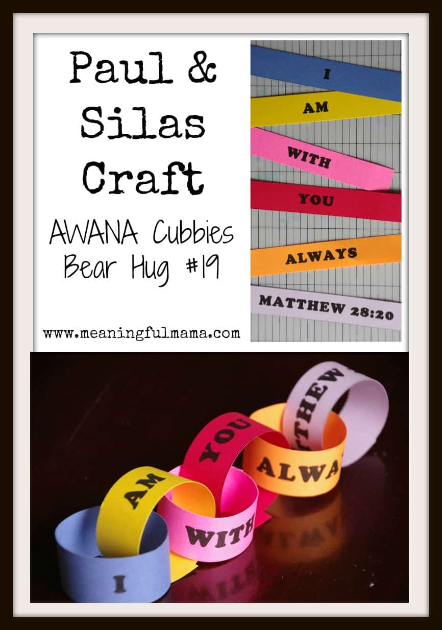 Paul and Silas Craft - AWANA Cubbies Bear Hug #19 - Meaningfulmama.