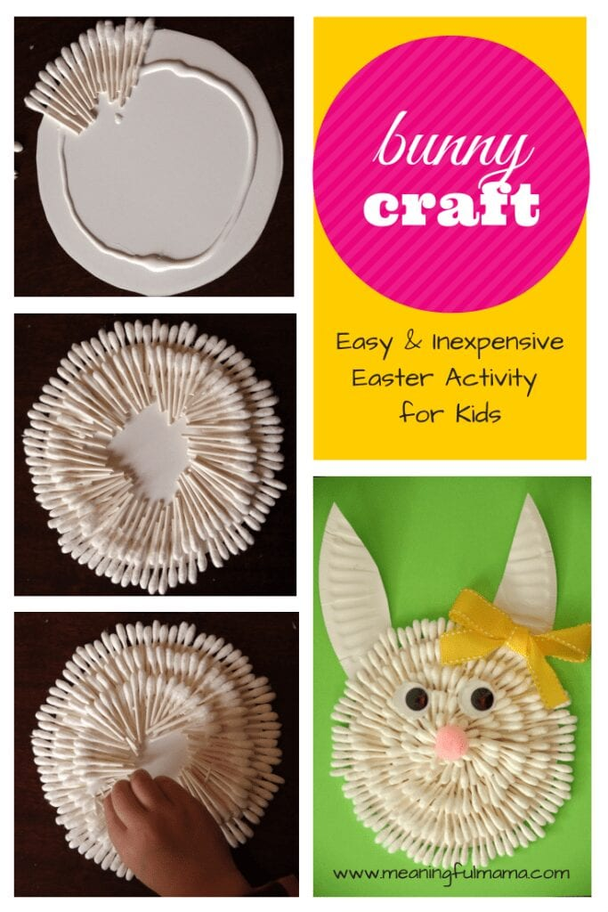 Bunny Craft Easter with Q-Tips - Meaningful Mama